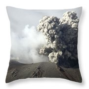Ash Cloud Following Explosive Vulcanian Throw Pillow