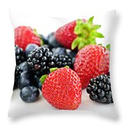 Assorted Fresh Berries Throw Pillow