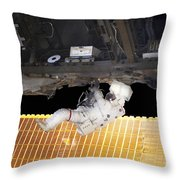 Astronaut Participates In A Spacewalk Throw Pillow