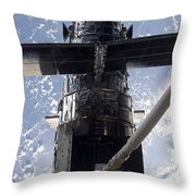 Astronaut Working On The Hubble Space Throw Pillow