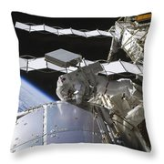 Astronaut Working On The International Throw Pillow