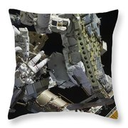 Astronauts Working On The International Throw Pillow