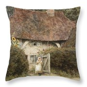 At The Cottage Gate Throw Pillow