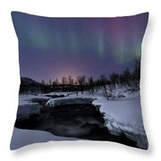 Aurora Borealis Over Blafjellelva River Throw Pillow