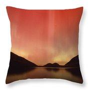Aurora Borealis Over Jordan Pond Throw Pillow