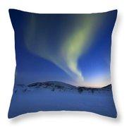 Aurora Borealis Over Skittendalen Throw Pillow