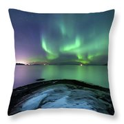 Aurora Borealis Over Vagsfjorden Throw Pillow