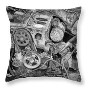 Auto Engine Block From A Wrecked Car Throw Pillow
