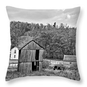 Autumn Farm Monochrome Throw Pillow by Steve Harrington