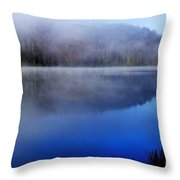 Autumn Morning Mist On Lake Throw Pillow