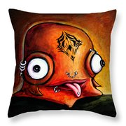 Bad Boy Glob Throw Pillow by Leanne Wilkes