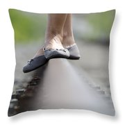 Balance On Railroad Tracks Throw Pillow