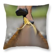 Banana Peel On The Railroad Tracks Throw Pillow