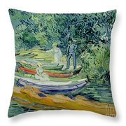 Bank Of The Oise At Auvers Throw Pillow