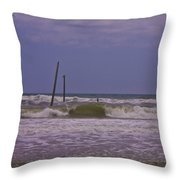 Barnacle Bill's Pier Remnants Throw Pillow
