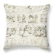 Baseball Cartoons, 1859 Throw Pillow