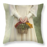 Basket With Flowers Throw Pillow