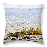 Beach Detail On Pacific Ocean Coast Throw Pillow by Elena Elisseeva