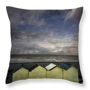 Beach Huts Under A Stormy Sky Vintage-look. Normandy. France Throw Pillow