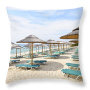 Beach Umbrellas On Sandy Seashore Throw Pillow