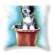 Beardie In A Pot Throw Pillow