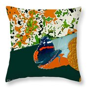 Beautiful Butterfly On Gold Throw Pillow