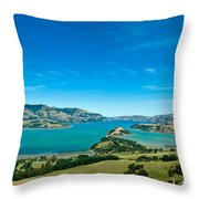 Beautiful Summer Day View Into The Akaroa Harbour Throw Pillow