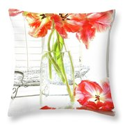 Beautiful Tulips In Old Milk Bottle  Throw Pillow