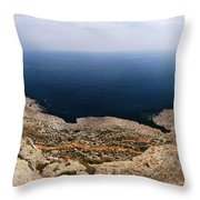 Beautiful View On Mediterranean Sea From Cape Gkreko In Cyprus Throw Pillow