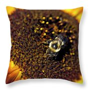 Bee And Sunflower Throw Pillow