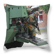 Belgian Infantry Soldiers Exit Throw Pillow by Luc De Jaeger