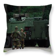 Belgian Infantry Soldiers Walk Throw Pillow by Luc De Jaeger