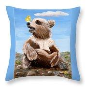 Ben Bear And Butterfly Throw Pillow