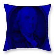 Ben Franklin In Blue Throw Pillow