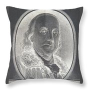 Ben Franklin In Negative Throw Pillow