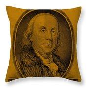 Ben Franklin In Orange Throw Pillow