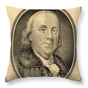 Ben Franklin In Sepia Throw Pillow