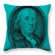 Ben Franklin In Turquois Throw Pillow