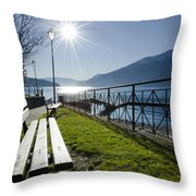 Bench In Backlight Throw Pillow