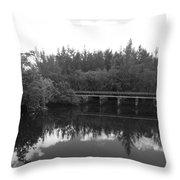 Big Sky On The North Fork River In Black And White Throw Pillow