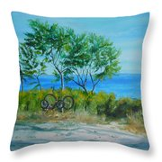 Bikes Waiting				 Throw Pillow