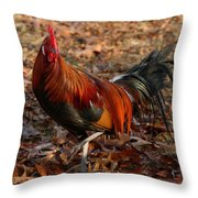 Black Breasted Red Phoenix Rooster Throw Pillow
