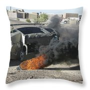 Black Smoke Rises To The Air Throw Pillow