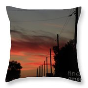 Blazing Red Country Road Sunset Throw Pillow
