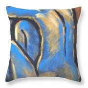 Blue Back Throw Pillow