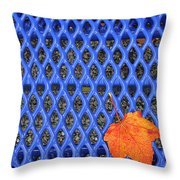 Blue Bench And Autumn Leaves Throw Pillow