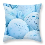 Blue Easter Eggs Throw Pillow by Elena Elisseeva