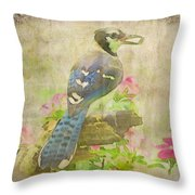Blue Jay With Texture II Throw Pillow
