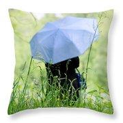 Blue Umbrella Throw Pillow