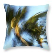 Blurred Palm Trees Throw Pillow